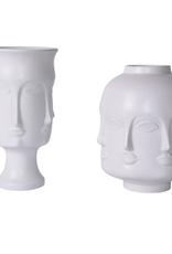 Matte White Face Jar - Short