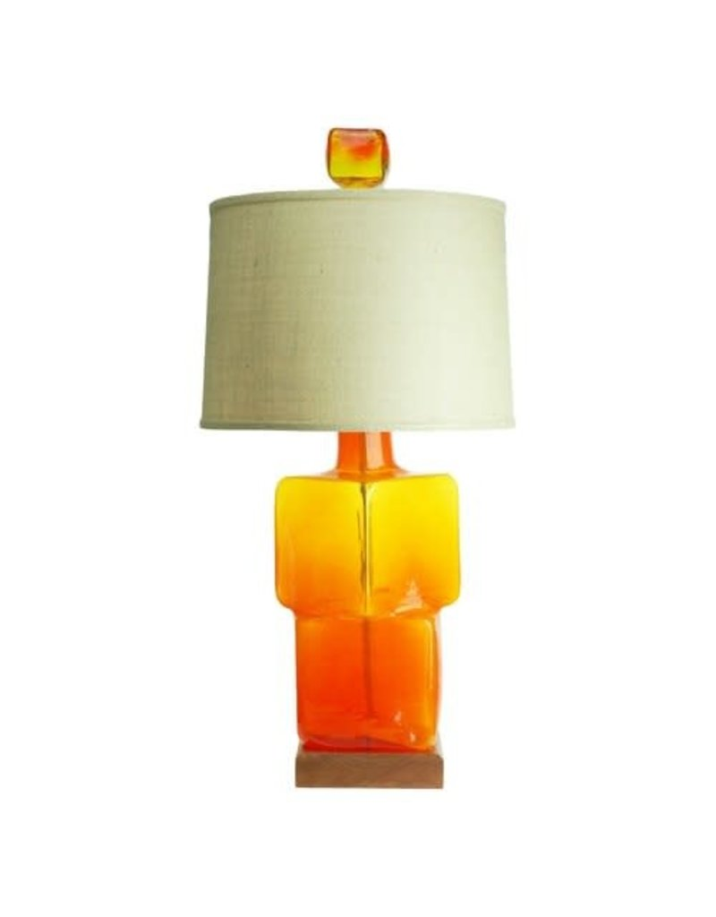 Blenko Glass Company Medium Block Table Lamp -Paw Paw