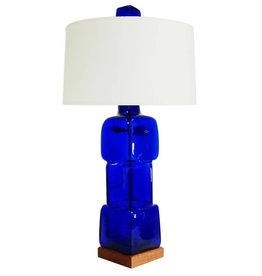 Blenko Glass Company Block Lamp Turquoise