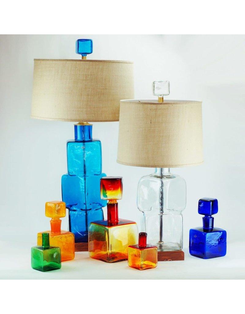 Blenko Glass Company Block Lamp Turquoise