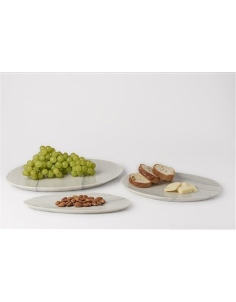 BIDK Home Large Stone Asymmetrical Platter - White Grey