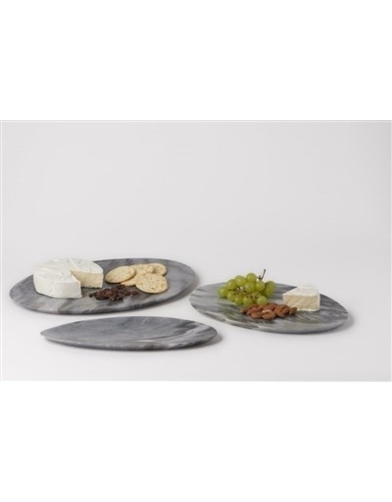 BIDK Home Small Grey Stone Asymmetrical Platter - Dark Grey