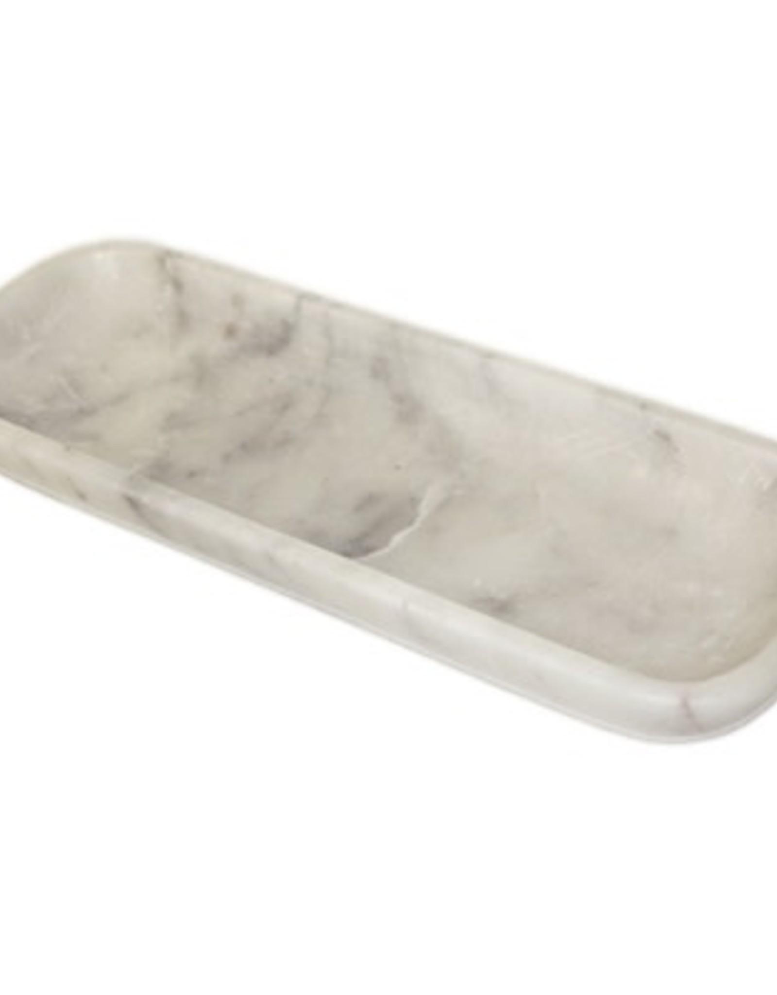 BIDK Home Marble Organic Rectangle Bowl-White
