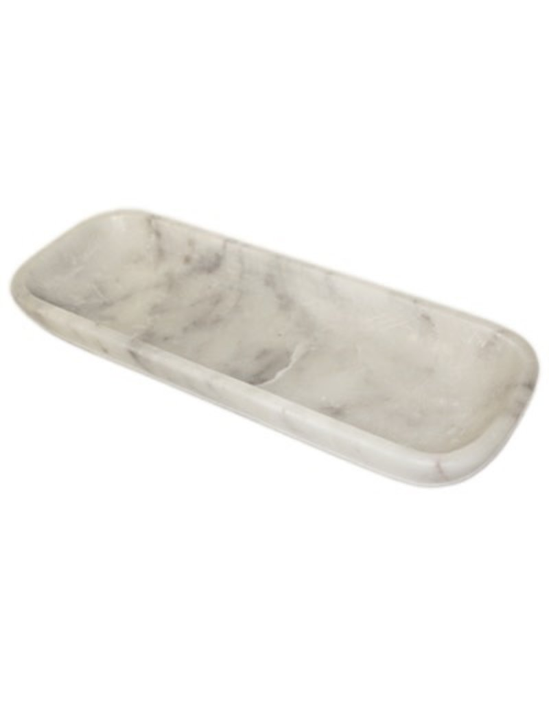 BIDK Home Marble Organic Rectangle Bowl-White