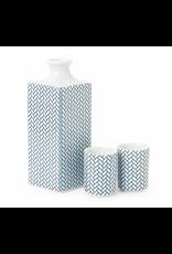 Miya Blue and White Ajiro Sake Set