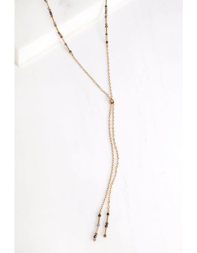Mickey Lynn Ruby and Sapphire Lariat Necklace