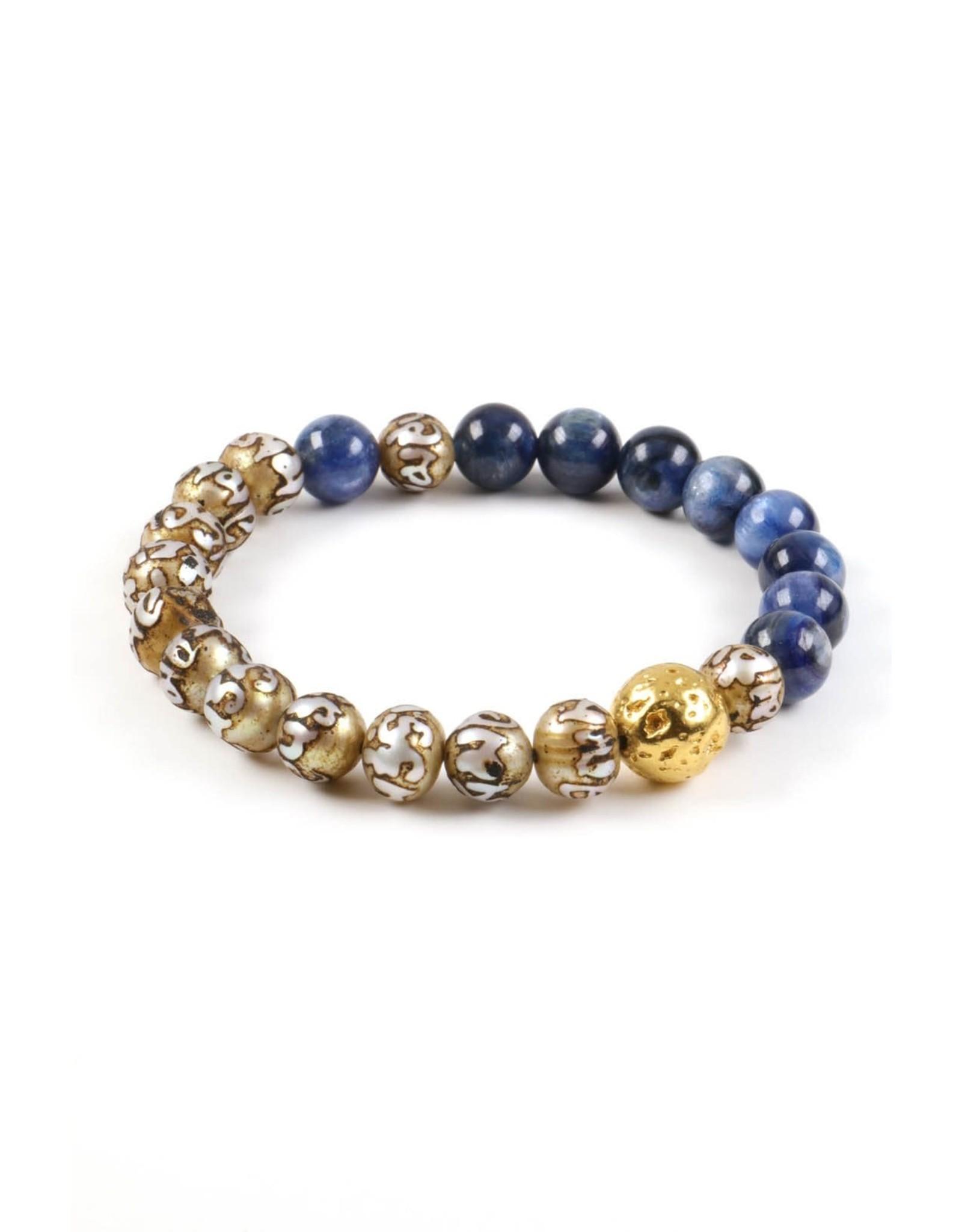 Mickey Lynn Kyanite Mantra Pearl Bracelet