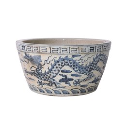 Legend of Asia Blue and White Ming Dragon Bowl