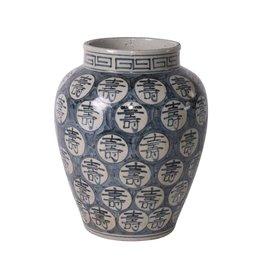Blue and White Longevity Open Top Jar