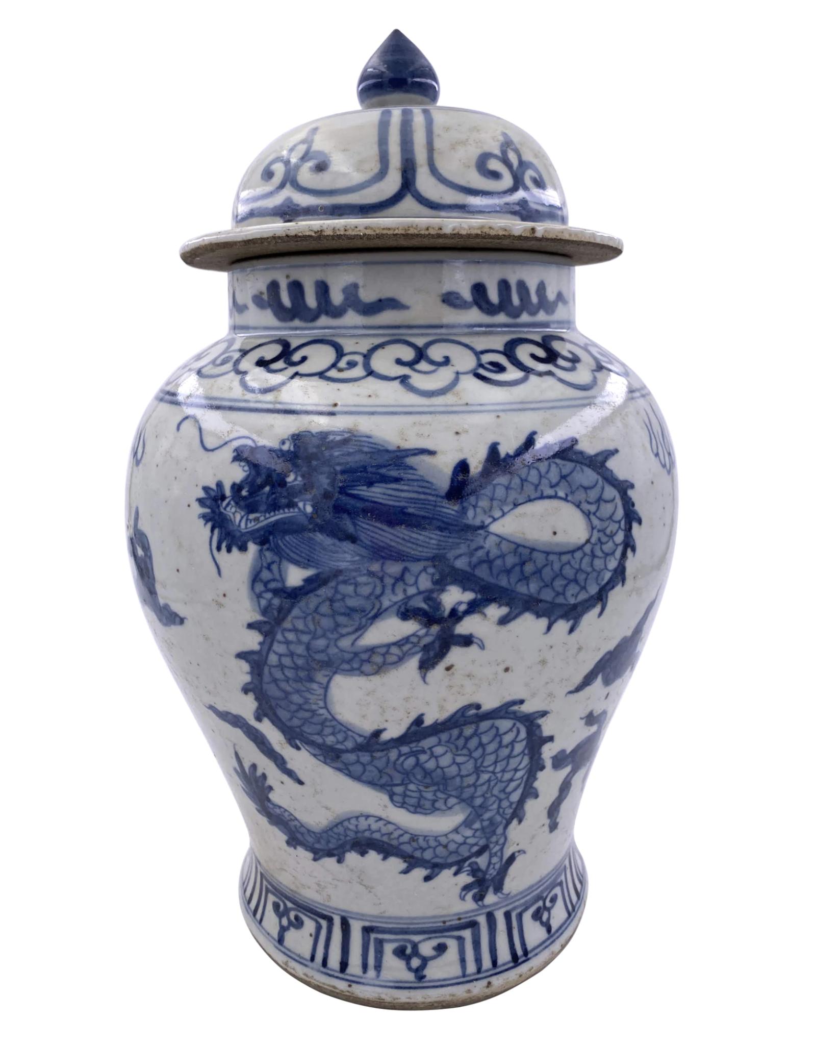 Blue & White Porcelain Temple Jar w/ Dragon - Small