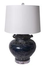 Indigo Carved Dragon Lamp
