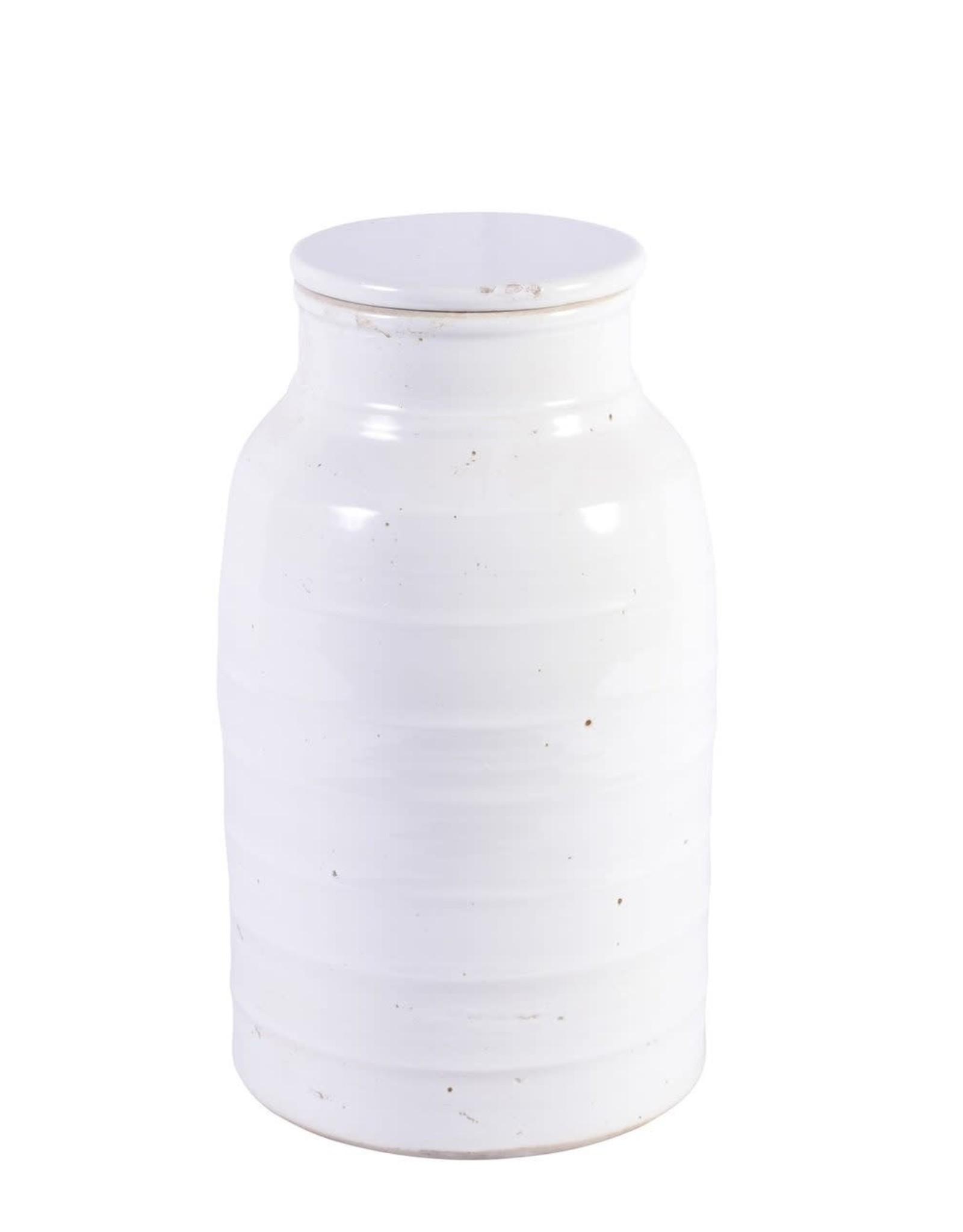 Busan White Flat Lidded Jar ShortW: 8.5 D: 8.5 H: 16