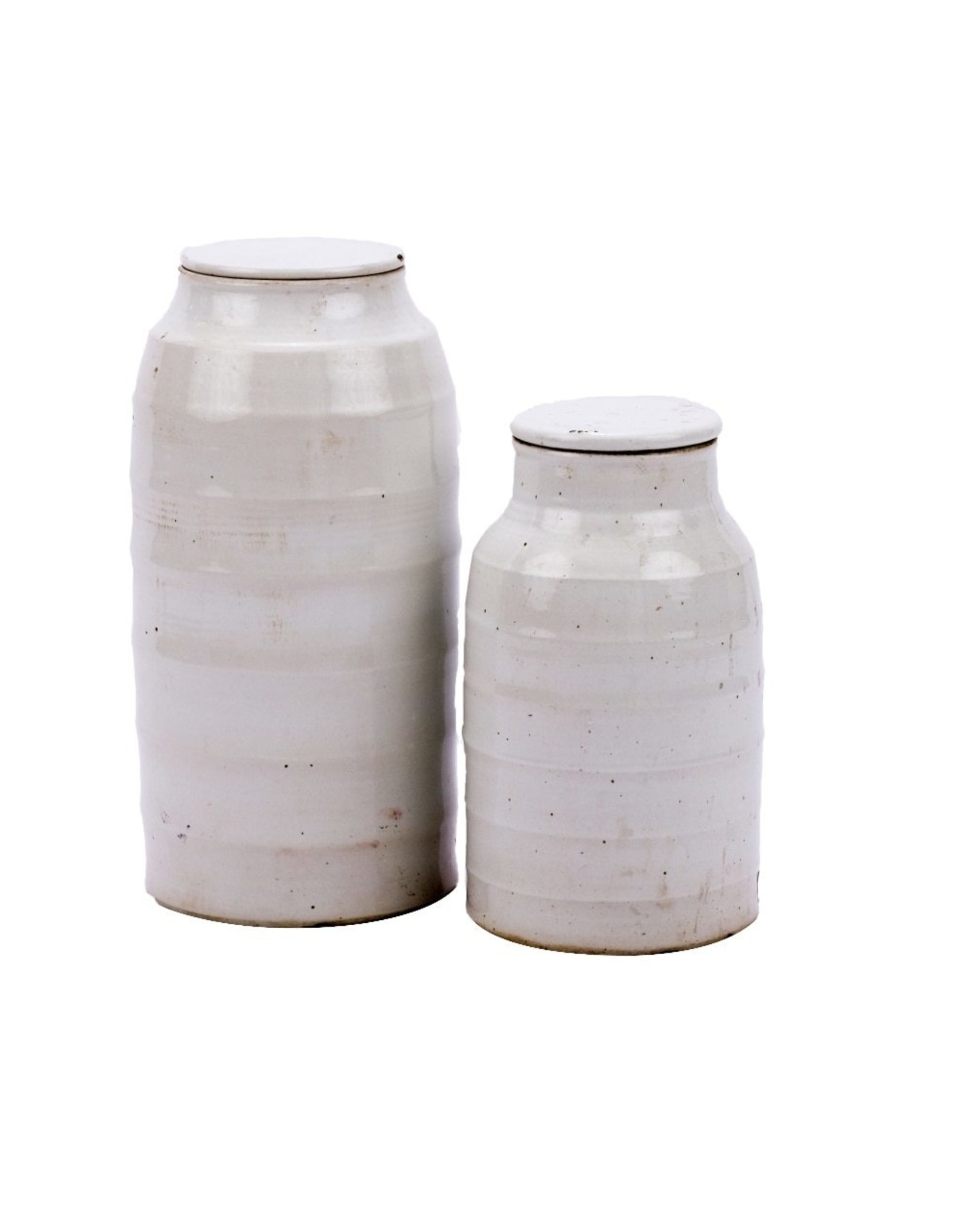Busan White Flat Lidded Jar ShortW: 8.5 D: 8.5 H: 16