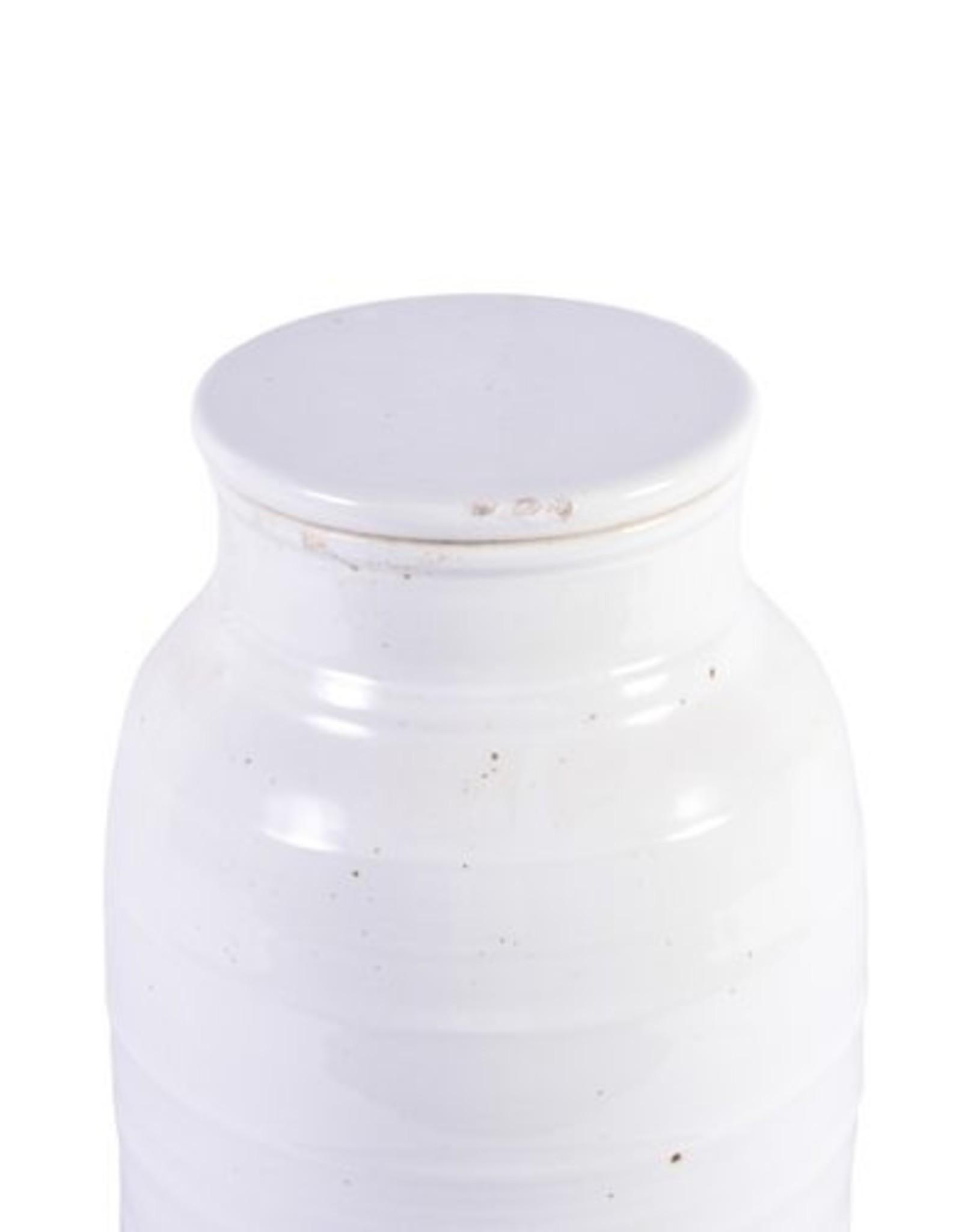 Busan White Flat Lidded Jar TallW: 9.5 D: 9.5 H: 20