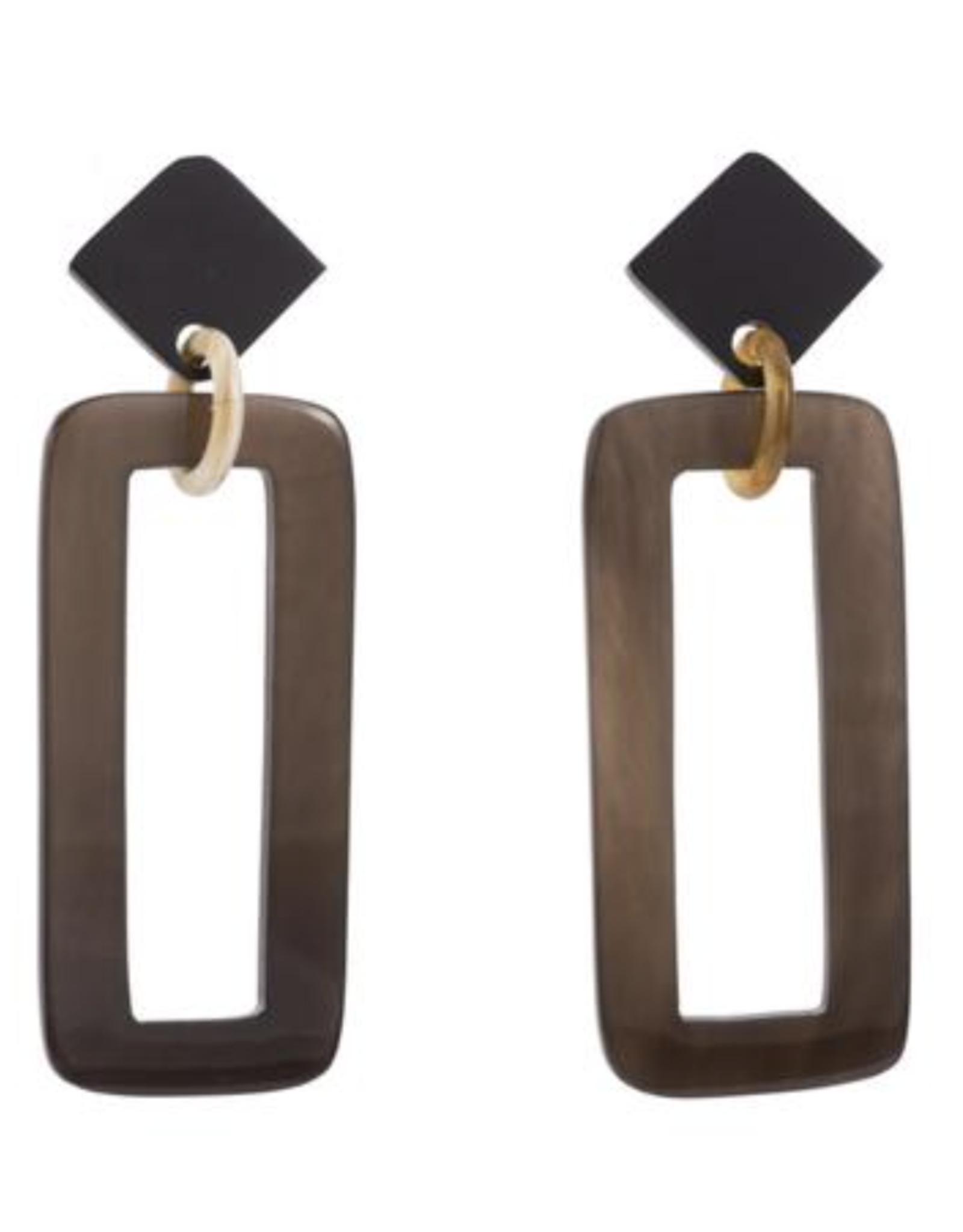 Vivo Buffalo Horn Rectangle Drop Earrings