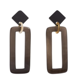 Vivo Buffalo Horn Rectangle Drop Earrings