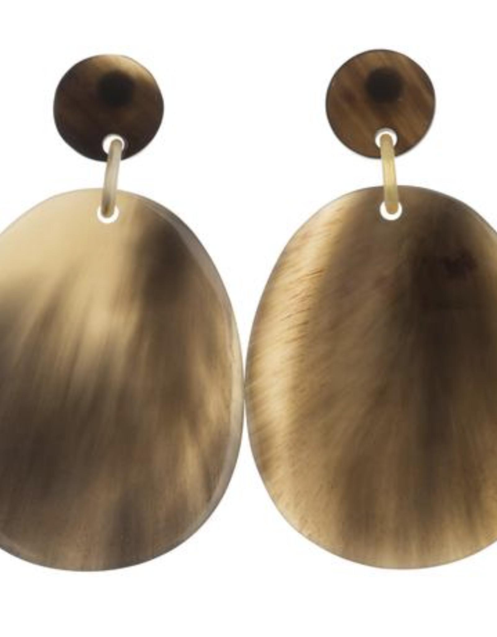 Vivo Buffalo Horn Large Flat Oval Earrings
