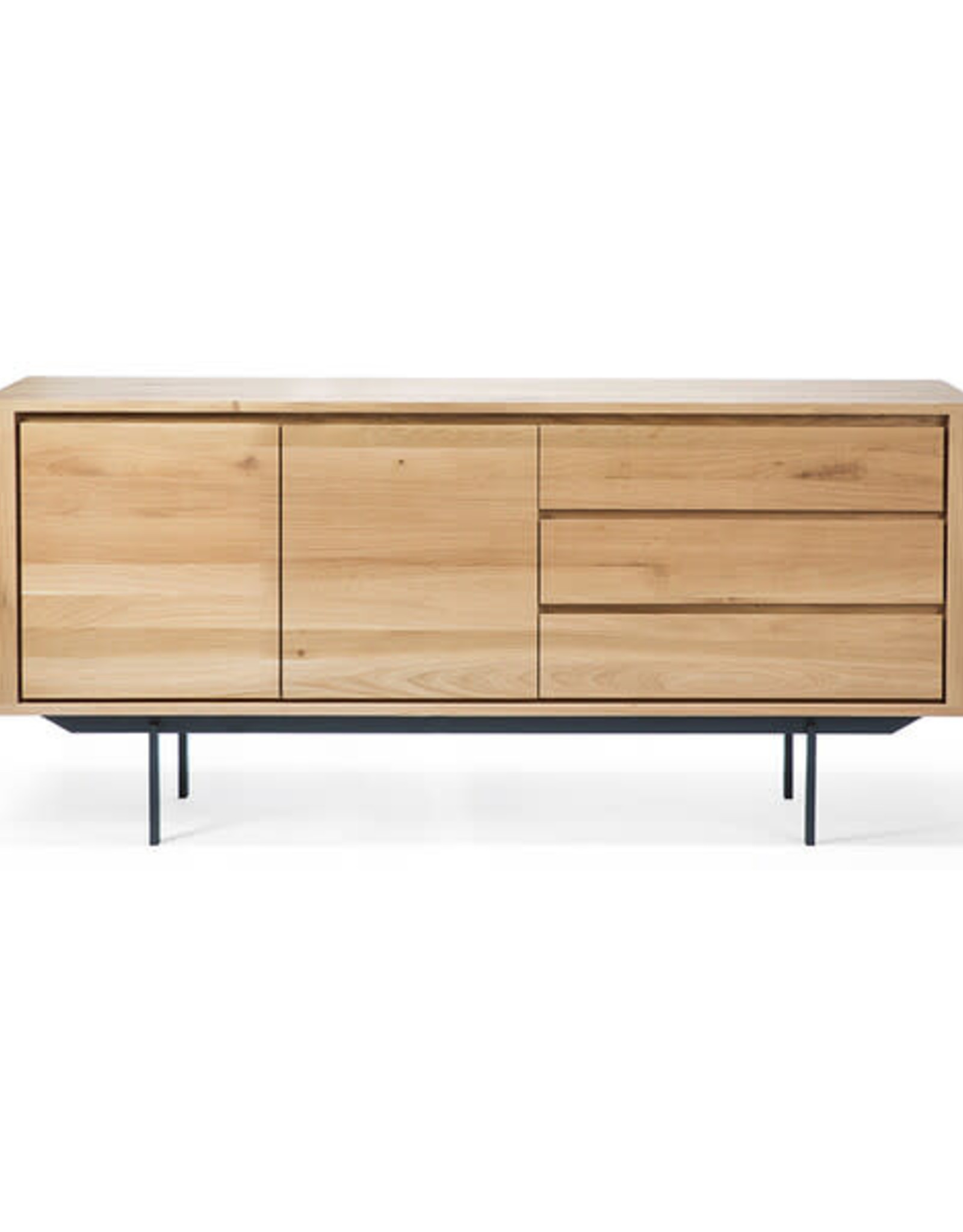 Ethnicraft USA LLC Oak Shadow Sideboard - 2 doors - 3 drawers - metal legs
