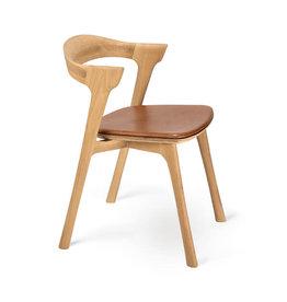 Ethnicraft Oak Bok dining chair - cognac leather - Varnished