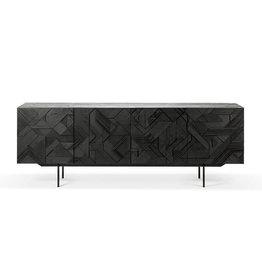 Teak Graphic sideboard - 4 doors - black - Varnished