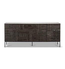 Teak Tabwa sideboard - 4 doors - Varnished