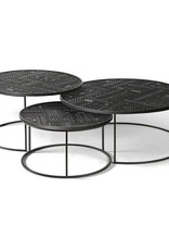 Teak Tabwa Round Nesting coffee table - set of 3 - Varnished