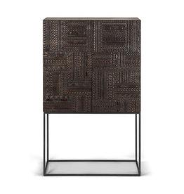 Teak Tabwa storage cupboard - 2 doors - 2 drawers - Varnished