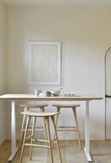 Oak Bok adjustable desk - white frame - US