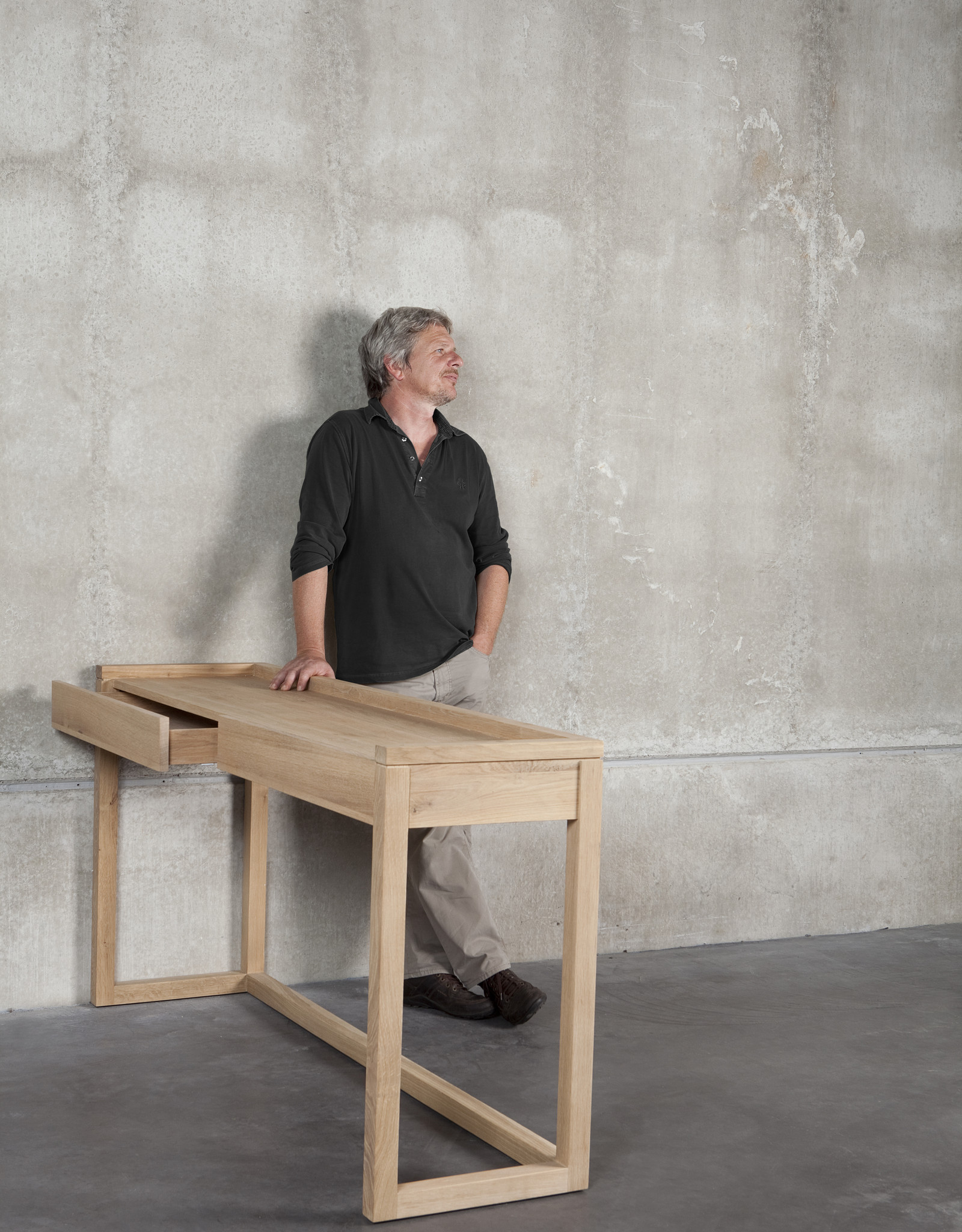 Oak Frame Desk - 2 drawer