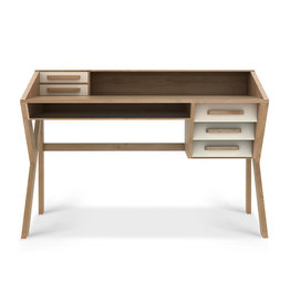 Oak Origami desk - cream - 5 drawers