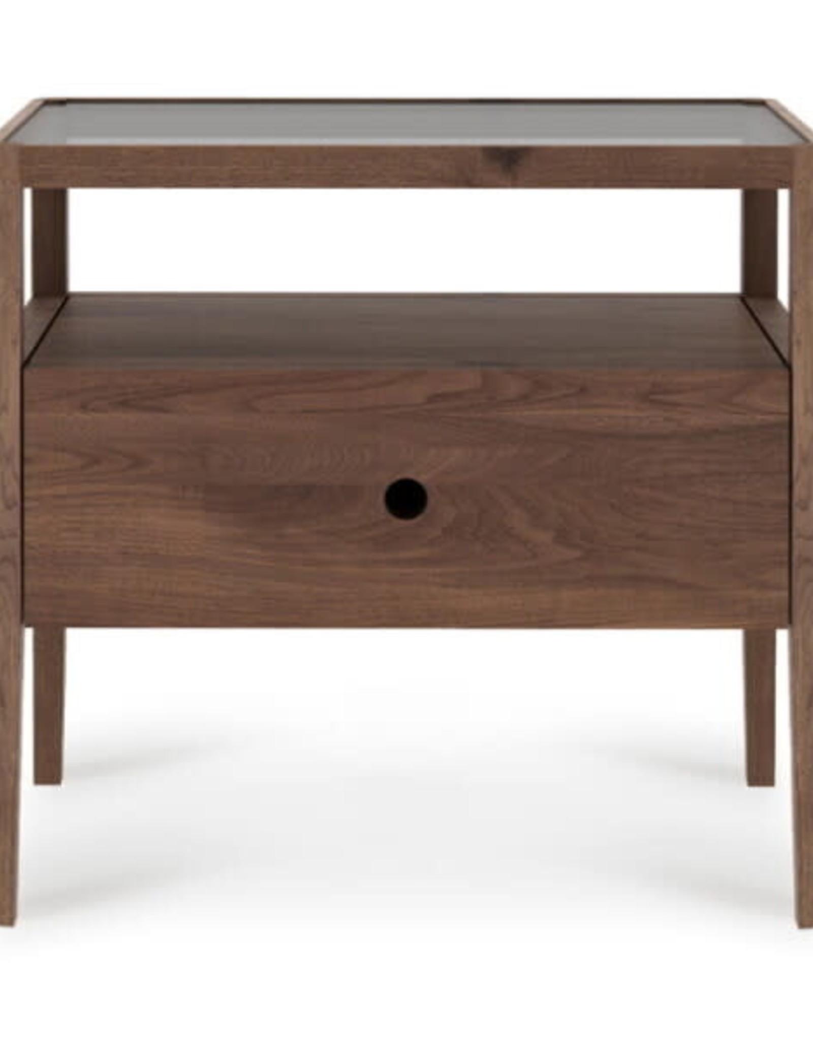 Walnut Spindle bedside table - 1 drawer