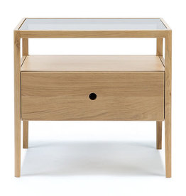 Oak Spindle bedside table - 1 drawer  - Varnished