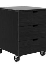Oak Billy drawer unit - 3 drawers - black - Varnished