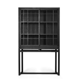 Oak Burung storage cupboard - 2 sliding doors - black - Varnished