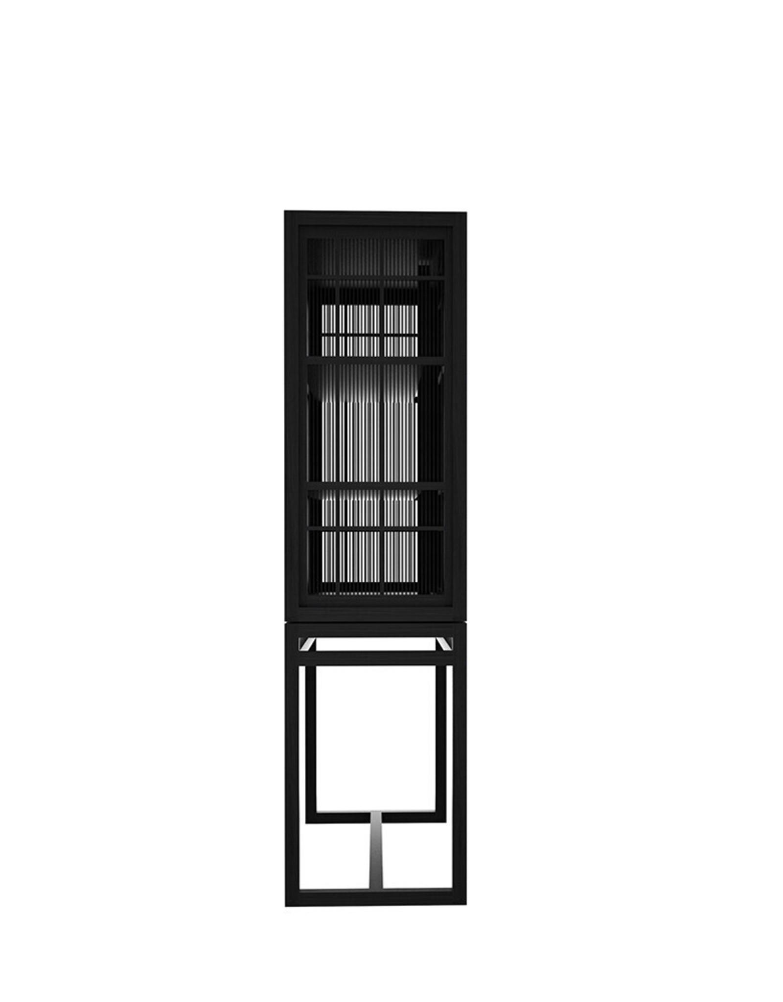 Oak Burung storage cupboard - 2 sliding doors - black - Varnished