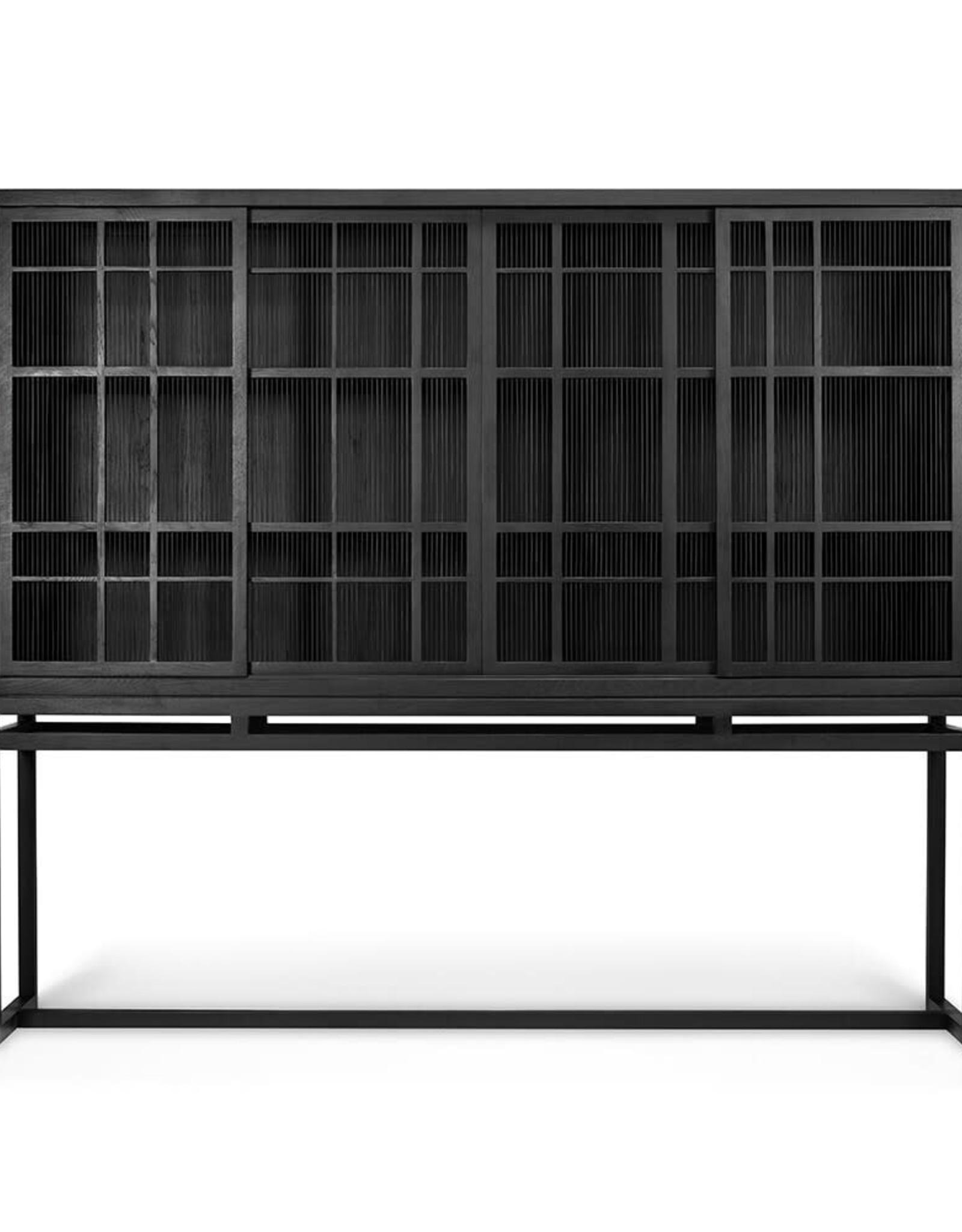 Oak Burung storage cupboard - 4 sliding doors - black - Varnished