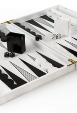 Acrylic Backgammon - White W/ Design