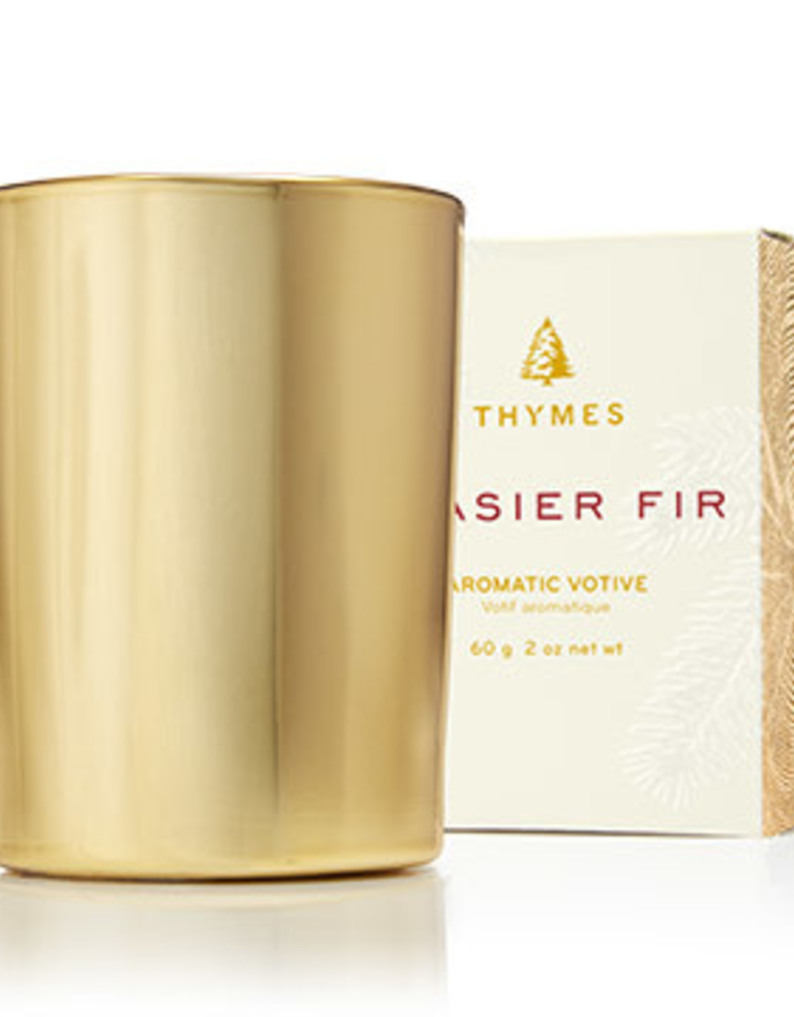 Frasier Fir Gilded Votive Candle, Gold