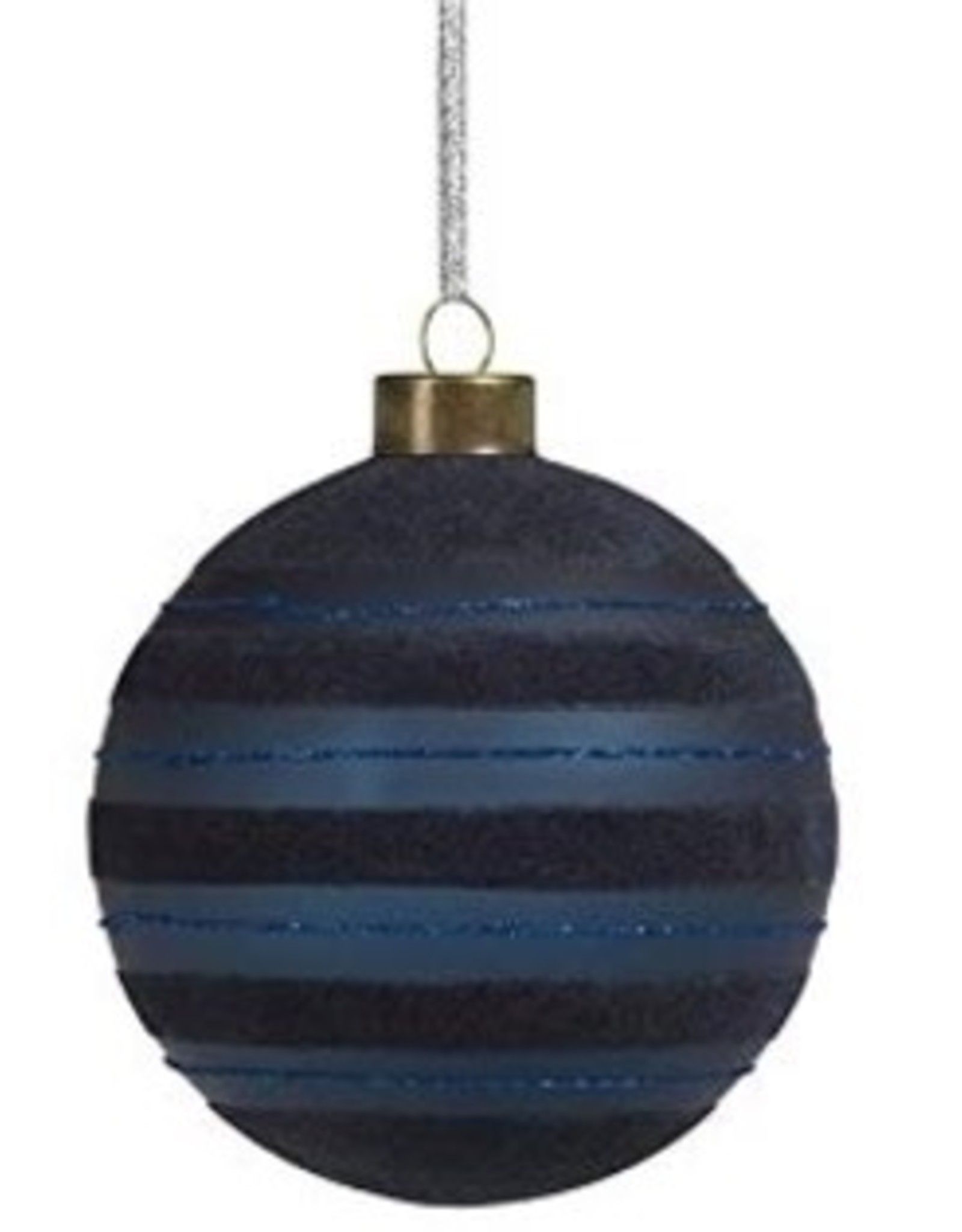 Blue Flocked Striped Glass Ornament - 3in