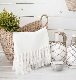 Throw Chervon Herringbone, White