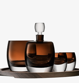 Whisky Club Connoisseur Set & Walnut/Cork Serving Tray Peat Brown