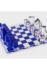Acrylic Chess Set, Small Blue
