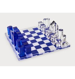 Acrylic Chess Set, Small Blue