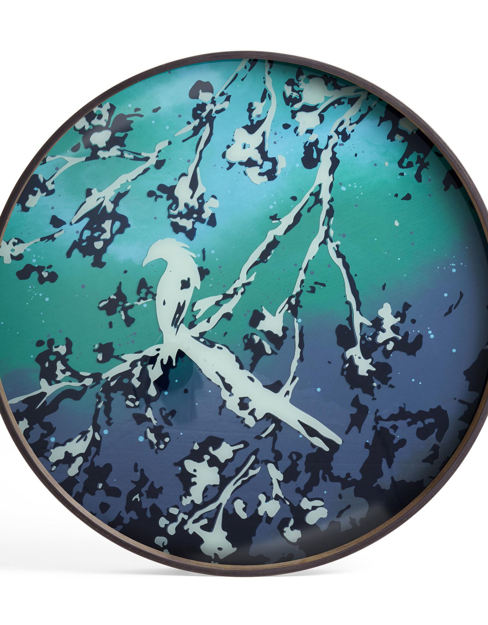 Birds of Paradise glass tray - round - L 24 x 24 x 2