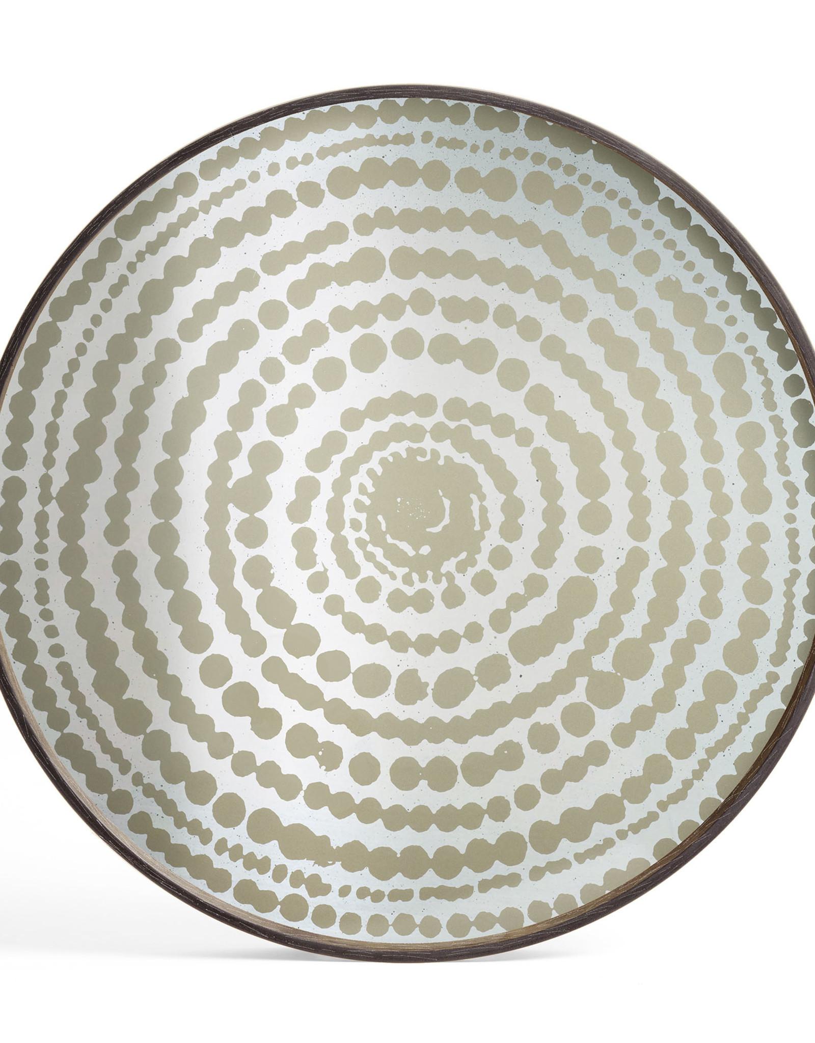 Gold Beads mirror tray - round - L 24 x 24 x 2