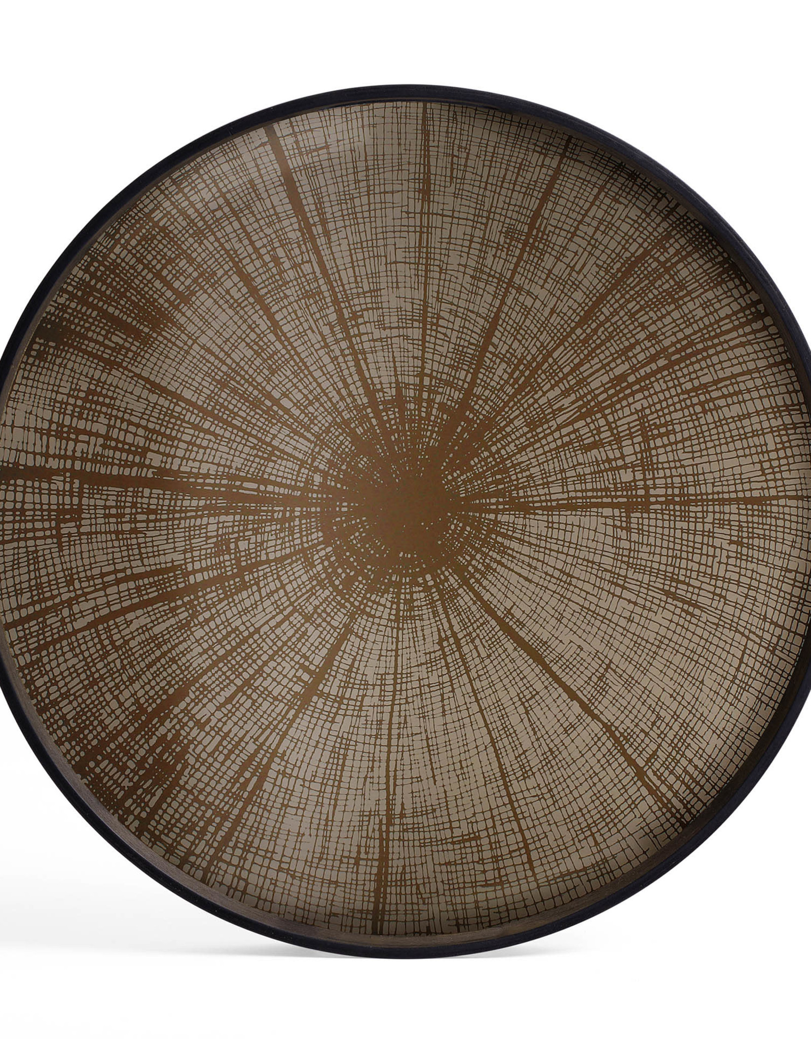 Bronze Slice mirror tray - not aged - round - L 24 x 24 x 2