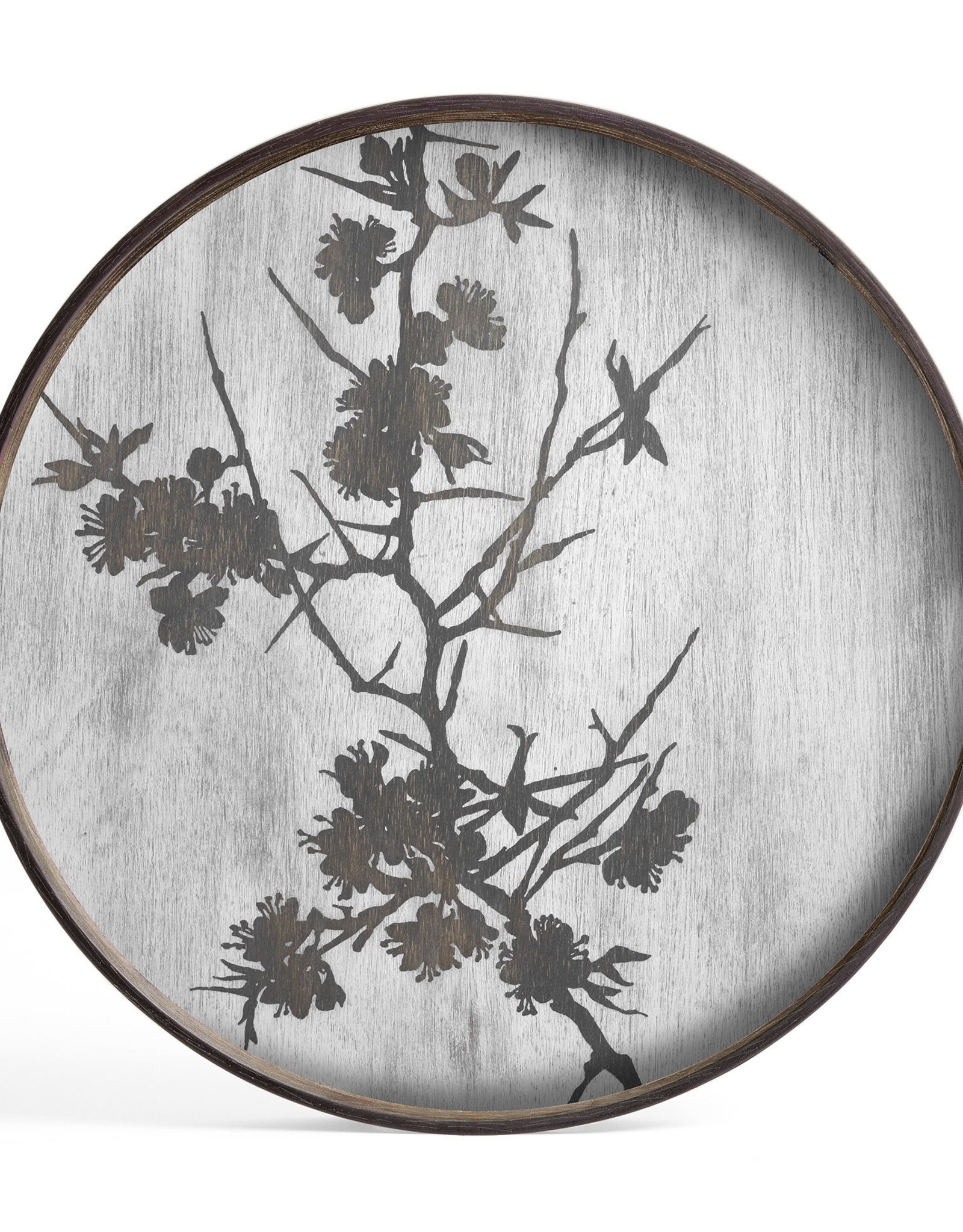 Blossom wooden tray - round - S 19 x 19 x 2