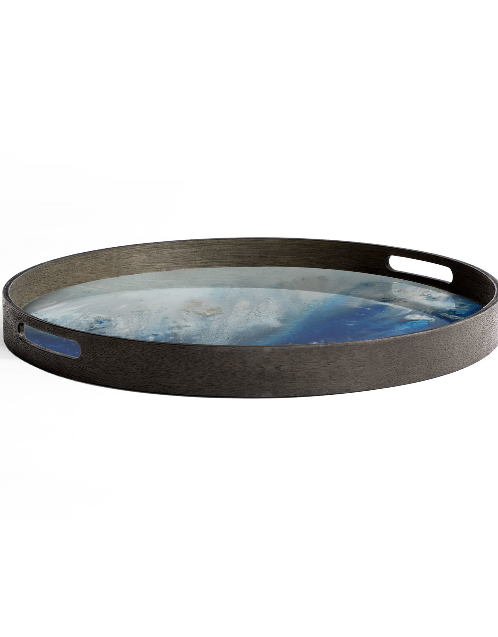 Blue Mist Organic glass tray - round - S 19 x 19 x 2