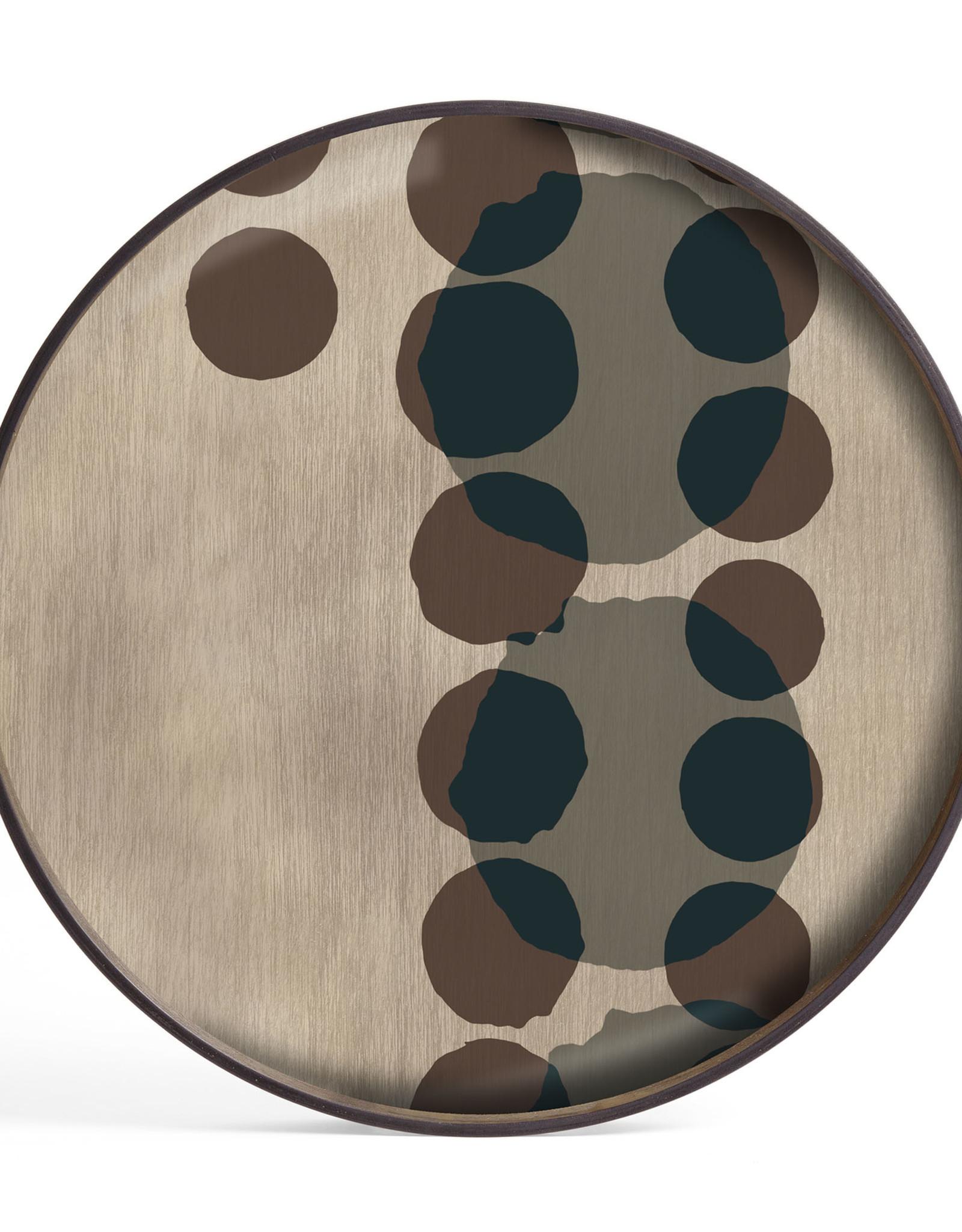 Slate Layered Dots glass tray - round - L 24 x 24 x 2