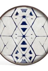 Tribal Hexagon glass tray - round - S 19 x 19 x 2